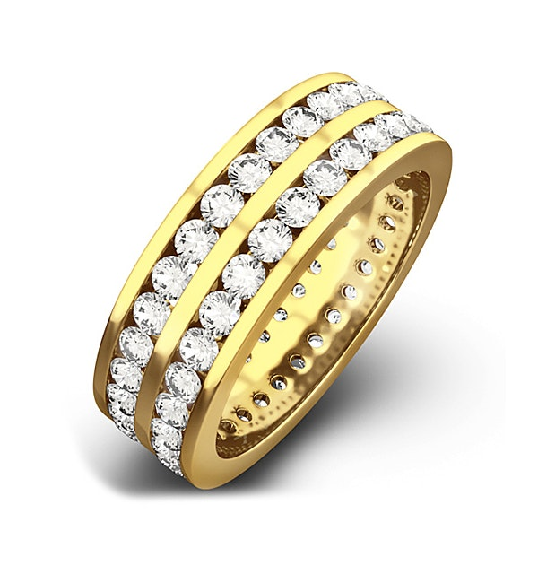 Mens 2ct H/Si Diamond 18K Gold Full Band Ring - image 1