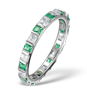 Emerald 0.60ct And H/SI Diamond Platinum Eternity Ring