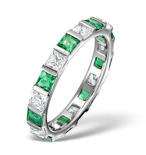 Emerald 1.20ct And H/SI Diamond Platinum Eternity Ring