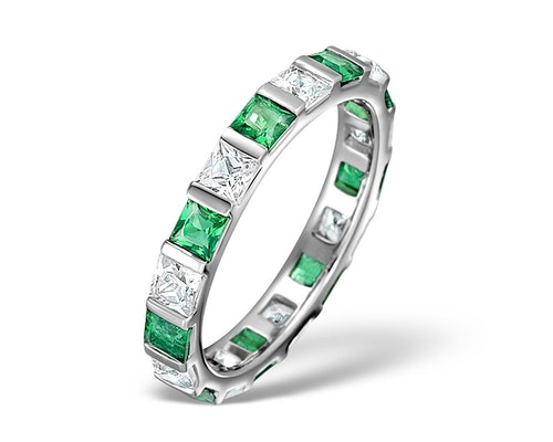emerald platinum eternity rings