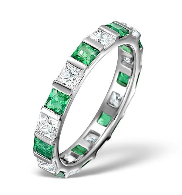 Emerald 1.20ct And H/SI Diamond Platinum Eternity Ring - image 1