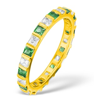Olivia 18K Gold Emerald 0.60ct and G/VS 0.5CT Diamond Eternity Ring