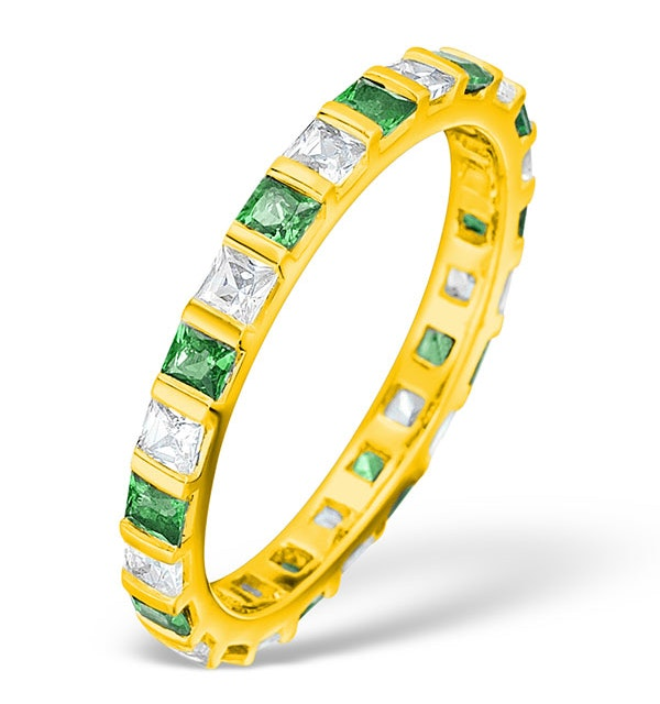 Olivia 18K Gold Emerald 0.60ct and H/SI 0.50CT Diamond Eternity Ring - image 1