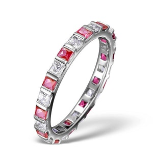 Ruby 0.65ct And H/SI Diamond Platinum Eternity Ring