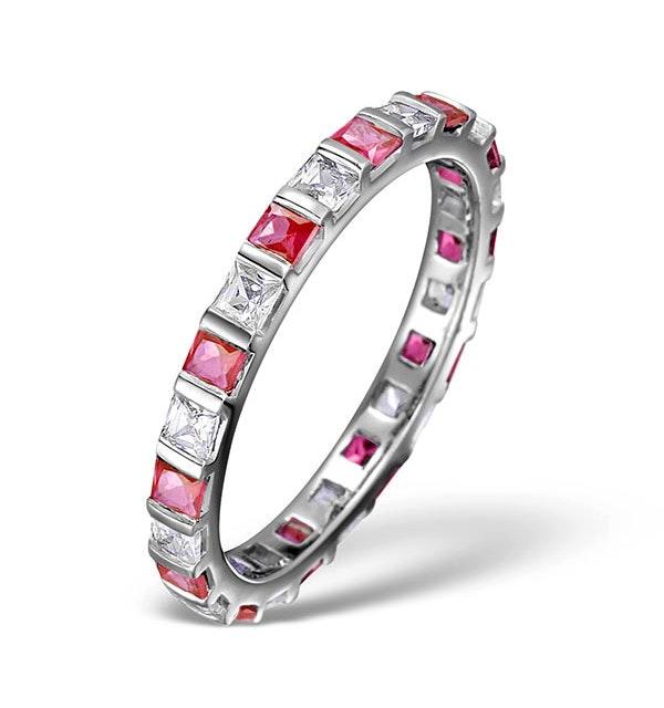 Ruby 0.65ct And G/VS Diamond Platinum Eternity Ring - image 1
