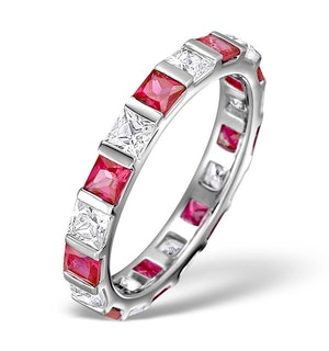 Ruby 1.25ct And H/SI Diamond 18KW Gold Eternity Ring