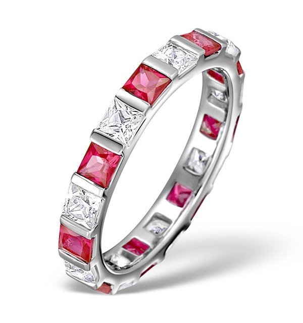 Ruby 1.25ct And H/SI Diamond Platinum Eternity Ring - image 1