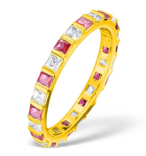 Olivia 18K Gold Ruby 0.65ct and H/SI 0.5CT Diamond Eternity Ring