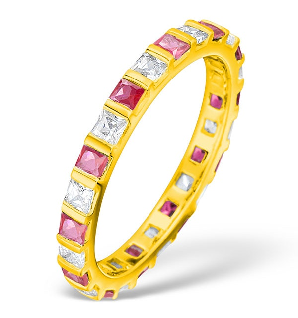 Olivia 18K Gold Ruby 0.65ct and G/VS 0.5CT Diamond Eternity Ring - image 1