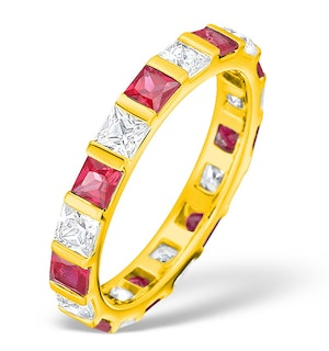 Olivia 18K Gold Ruby 1.25ct and G/VS 1CT Diamond Eternity Ring