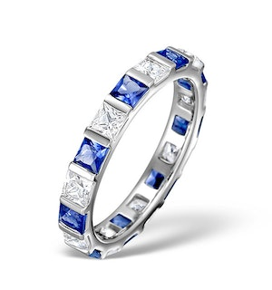 Sapphire 1.30ct And Diamond 18K White Gold Eternity Ring  HG42-422UJUY