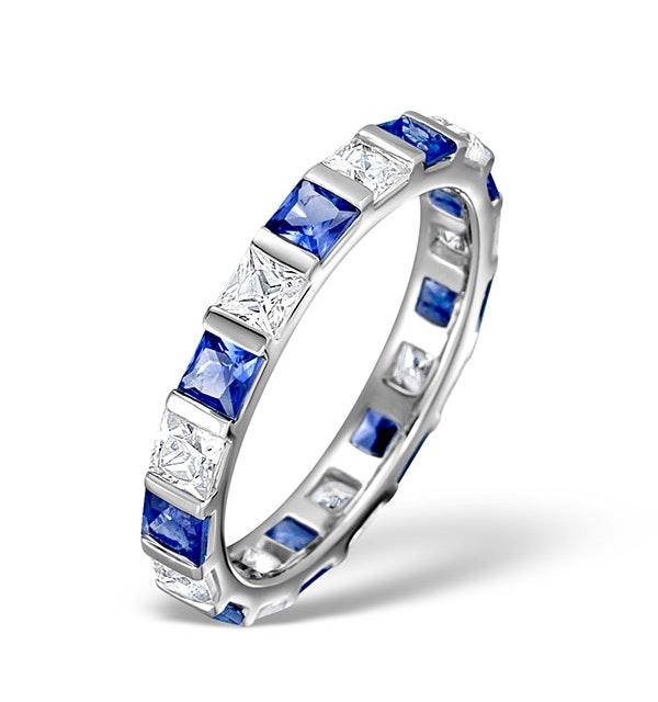 Sapphire 1.30ct And Diamond Platinum Eternity Ring  HG42-422UJUS - image 1