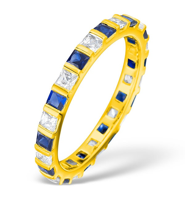 Olivia 18K Gold Sapphire 0.70ct and G/VS 0.5CT Diamond Eternity Ring - image 1