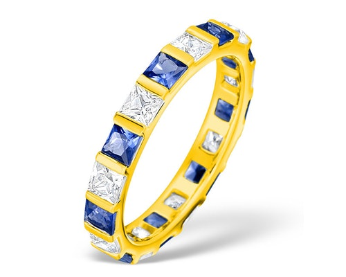 sapphire yellow gold eternity rings