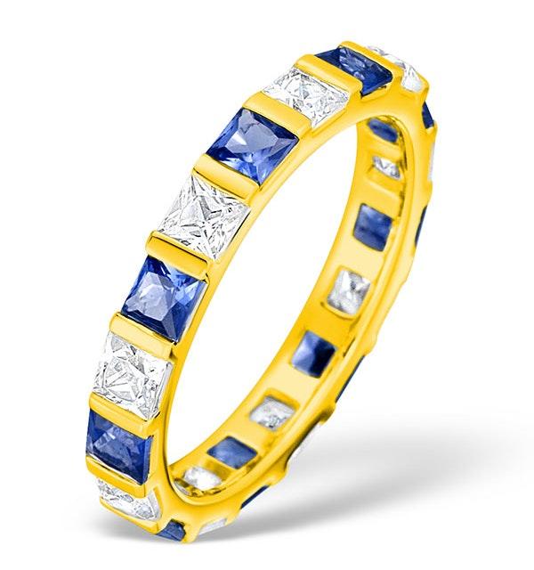 Olivia 18K Gold Sapphire 1.30ct and G/VS 1CT Diamond Eternity Ring - image 1