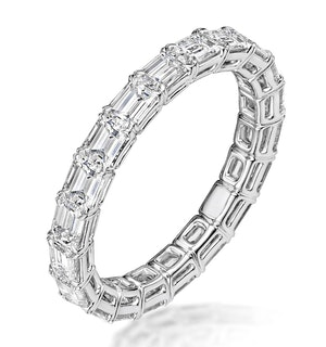 Viola Diamond Eternity Ring Emerald Cut 2.42ct VVs Platinum Size J-N