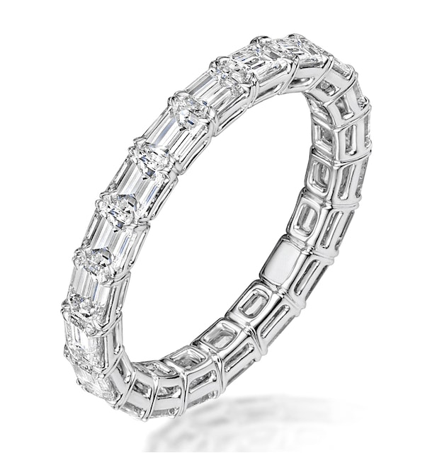 Viola Diamond Eternity Ring Emerald Cut 5.72ct VVs Platinum Size O-W - image 1