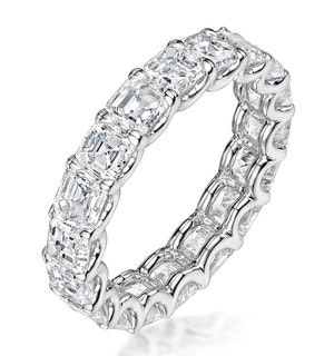 Elisa Diamond Eternity Ring Asscher Cut 7ct VVs Platinum Size O-W