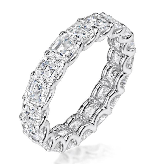 Elisa Diamond Eternity Ring Asscher Cut 6.51ct VVs Platinum Size J-N - image 1