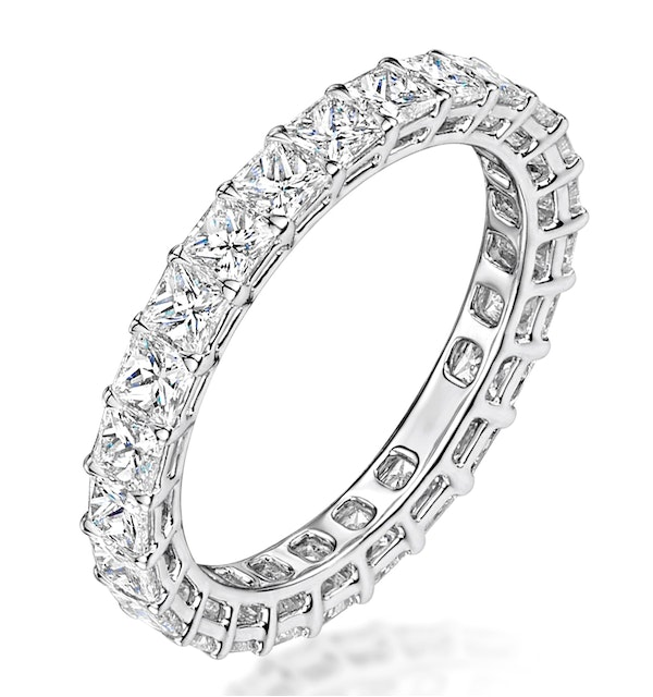 Gabrielle Diamond Eternity Ring Princess Cut 2.4ct VVs Platinum J-N - image 1