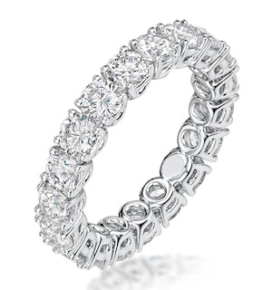 Stella Diamond Eternity Ring Round Cut 3.57ct VVs Platinum Size H-I