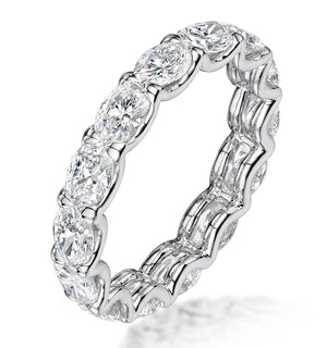 Isla Diamond Eternity Ring Oval Cut 3.9ct VVs Platinum Size J-N