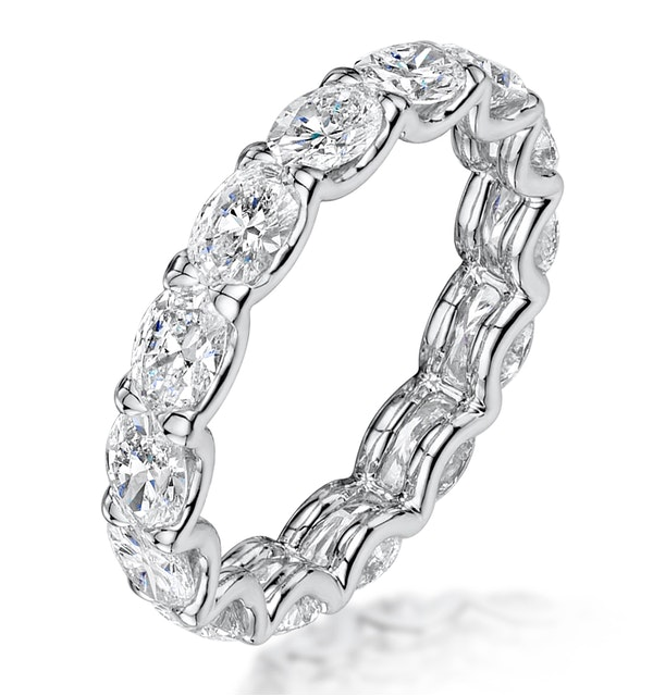Isla Diamond Eternity Ring Oval Cut 4.42ct VVs Platinum Size O-W - image 1