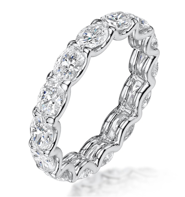 Isla Diamond Eternity Ring Oval Cut 3.38ct VVs Platinum Size H-I - image 1