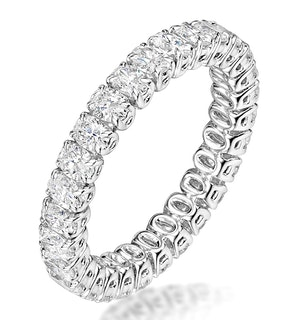 Sienna Diamond Eternity Ring Oval Cut 4.32ct VVs Platinum Size O-W