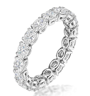 Serena Diamond Eternity Ring Oval Cut 4.42ct VVs Platinum Size O-W