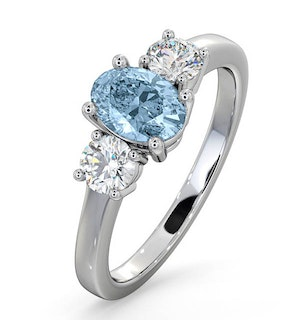 Aquamarine 0.70ct and Lab Diamonds G/Vs 0.50ct Platinum Ring