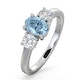 Aquamarine 0.70ct and Lab Diamonds G/Vs 0.50ct 18K White Gold Ring - image 1