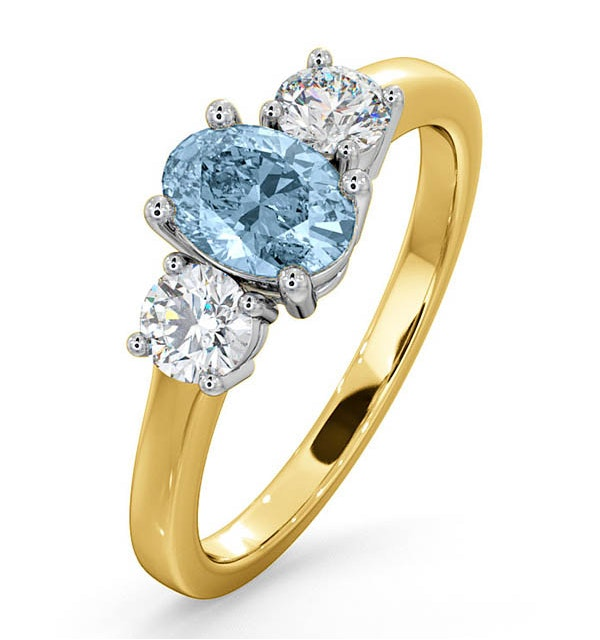 Aquamarine 0.70ct and Diamond 0.50ct 18K Gold Ring  FET23-C - image 1