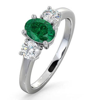 Emerald 0.70ct And Lab Diamonds G/Vs 0.50ct Platinum Ring