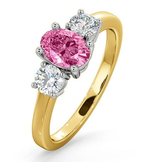 18K Gold 0.50ct H/Si Diamond and 1.00ct Pink Sapphire Ring
