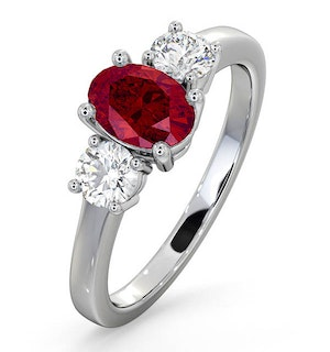 18K White Gold 0.50CT Lab Diamonds G/Vs and 1.15CT Ruby Ring