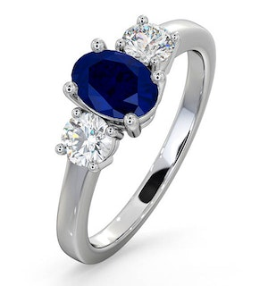Sapphire 0.80ct And Lab Diamonds G/Vs 0.50ct 18K White Gold Ring