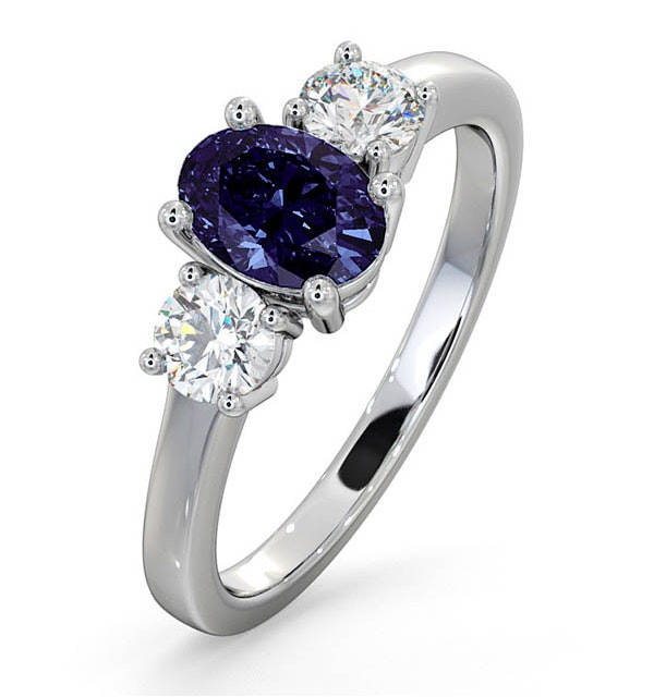 Tanzanite 0.80ct And Lab Diamonds G/Vs 0.50ct Platinum Ring - image 1