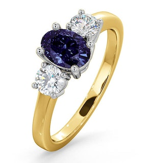 Tanzanite 7 x 5mm And Diamond 18K Gold Ring  FET23-V