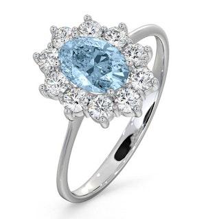Aquamarine 0.70ct and Diamond 0.50ct 18K White Gold Ring  FET25-CY