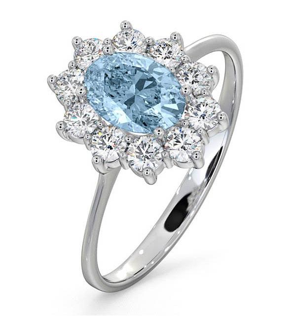 Aquamarine 0.70ct and Diamond 0.50ct 18K White Gold Ring  FET25-CY - image 1