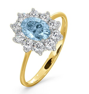Aquamarine 0.70ct and Diamond 0.50ct 18K Gold Ring