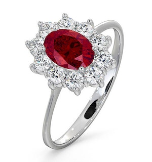 Ruby 1.15ct And Diamond 0.50ct 18K White Gold Ring