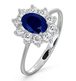 Sapphire 0.80ct And Diamond 0.50ct 18K White Gold Ring