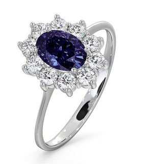 Tanzanite 7 x 5mm And 0.50ct Diamond 18K White Gold Ring  FET25-VY