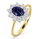 Tanzanite 7 x 5mm And Diamond 0.50ct 18K Gold Ring - image 1