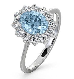 Aquamarine 1.10ct and Diamond 0.50ct 18K White Gold Ring