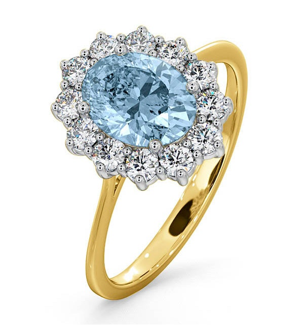 Aquamarine 1.10ct and Diamond 0.50ct 18K Gold Ring - image 1