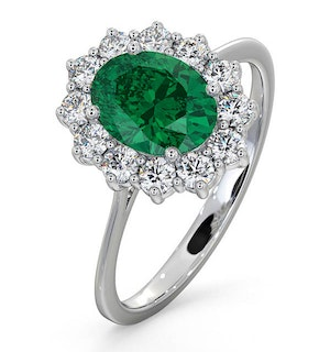 Emerald 1.15ct And Diamond 18K White Gold Ring