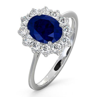 Sapphire 1.55ct And Diamond 0.50ct 18K White Gold Ring